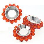 Beads Spacer Crystal, Kristal, Lule, Zjarri Opal, 17mm, 4x3mm, : 6.5mm, 100PC/Qese,  Qese