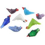 Lampwork Kafshëve, Zog, ngjyra të përziera, 10-12.8x19-30x11-11.5mm, : 2.2-2.5mm, 50PC/Qese,  Qese
