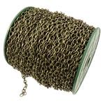Zinxhiri Iron Oval, Hekur, Ngjyra antike bronz i praruar, asnjë, , nikel çojë \x26amp; kadmium falas, 6x8x1.20mm, :50m,  PC