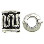 Beads Zink Alloy Tube, Alloy zink, Ngjyra antike argjendi praruar, asnjë, , nikel çojë \x26amp; kadmium falas, 4.30x5mm, : 2mm, 4347PC/KG,  KG