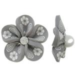 Polymer Ton Perlen , Blume, grau, 31x16mm, Bohrung:ca. 4mm, 100PCs/Tasche, verkauft von Tasche