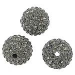 Diamant i rremë balta Beads hapë, Argjilë, Round, asnjë, me diamant i rremë, Greige, 12mm, : 2mm, 10PC/Qese,  Qese