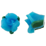 Polymer Ton Perlen , Blume, himmelblau, 11x8mm, Bohrung:ca. 1mm, 100PCs/Tasche, verkauft von Tasche
