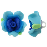 Polymer Ton Perlen , Blume, blau, 30x18mm, Bohrung:ca. 4mm, 100PCs/Tasche, verkauft von Tasche