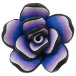 Polymer Ton Perlen , Blume, violett, 42x20mm, Bohrung:ca. 2mm, 100PCs/Tasche, verkauft von Tasche