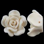 Beads polimer balta, Polymer Clay, Lule, asnjë, e bardhë, 29x29x13mm, : 1mm, 100PC/Qese,  Qese