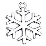 Pendants aliazh zink Krishtlindjeve, Alloy zink, Flok dëbore, Ngjyra antike argjendi praruar, asnjë, , nikel çojë \x26amp; kadmium falas, 23x17.50x1.50mm, : 1.8mm, 769PC/Qese,  Qese
