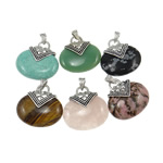Pendants përziera gur i çmuar, with Alloy zink, Oval, natyror, 40x45x10mm, : 4x8mm, 30PC/Qese,  Qese