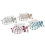 Combs dekorative Flokët, Alloy zink, me diamant i rremë, ngjyra të përziera, , nikel çojë \x26amp; kadmium falas, 60.50x52x22mm, 12PC/Qese,  Qese