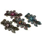 Flokeve barrettes, Alloy zink, i praruar, me diamant i rremë, ngjyra të përziera, , nikel çojë \x26amp; kadmium falas, 43x90.50x32mm, 12PC/Qese,  Qese