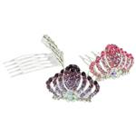 Combs dekorative Flokët, Alloy zink, i praruar, me diamant i rremë, ngjyra të përziera, , nikel çojë \x26amp; kadmium falas, 38x47x25mm, 12PC/Kuti,  Kuti