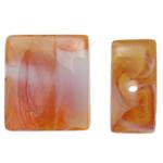Handgewickelte Perlen, Lampwork, Rechteck, handgemacht, gelb, 16x14x6.50mm, Bohrung:ca. 2mm, 100PCs/Tasche, verkauft von Tasche