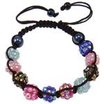 Rrëshirë Shamballa Bracelets, with Cord najlon & Jo-magnetike kuqe e mbylltë & Rrëshirë diamant i rremë, endura, me diamant i rremë, ngjyra të përziera, 10x8mm, :7.5Inç, 10Fillesat/Shumë,  Shumë