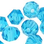 Swarovski Crystal Beads, Bicone, Akuamarin, 6mm, : 1mm, 50PC/Qese,  Qese