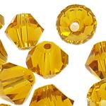 Swarovski Crystal Beads, Bicone, Lt Topaz, 6mm, : 1mm, 50PC/Qese,  Qese