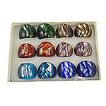 Ring Finger lampwork, petë argjendi, ngjyra të përziera, 28x27x24mm, : 19mm, :9.5, 12PC/Kuti,  Kuti