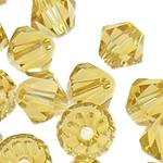 Swarovski Crystal Beads, Bicone, Champagne Gold, 3mm, : 1mm, 50PC/Qese,  Qese