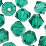 Swarovski Crystal Beads, Bicone, Smerald, 3mm, : 1mm, 50PC/Qese,  Qese