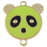Iron Mbulim Gjuhësh, Hekur, Panda, e gjelbër, , nikel çojë \x26amp; kadmium falas, 37x42x2mm, : 3mm, 200PC/Qese,  Qese