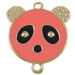 Iron Mbulim Gjuhësh, Hekur, Panda, smalt & 1/1 loop, rozë, , nikel çojë \x26amp; kadmium falas, 37x42x2mm, : 3mm, 200PC/Qese,  Qese