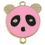 Iron Mbulim Gjuhësh, Hekur, Panda, rozë, , nikel çojë \x26amp; kadmium falas, 37x42x2mm, : 3mm, 200PC/Qese,  Qese