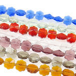 Beads Crystal, Kristal, Lule, i tejdukshëm, ngjyra të përziera, 8x5.50mm, : 1mm, :14Inç, 20Fillesat/Qese,  Qese