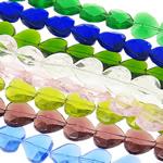 Beads Crystal Heart, Kristal, Zemër, i tejdukshëm, ngjyra të përziera, 16x16x8mm, : 1mm, :14.6Inç, 20Fillesat/Qese,  Qese