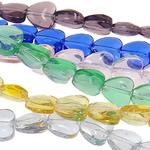 Herz Kristallperlen, Kristall, transluzent, gemischte Farben, 8x4mm, Bohrung:ca. 1mm, Länge:13 ZollInch, 20SträngeStrang/Tasche, verkauft von Tasche