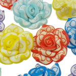 Beads polimer balta, Polymer Clay, Lule, asnjë, ngjyra të përziera, 20x10-22x13mm, : 1-2mm, 100PC/Qese,  Qese