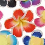 Polymer Ton Perlen , Blume, gemischte Farben, 18x9-22x8mm, Bohrung:ca. 1-2mm, 100PCs/Tasche, verkauft von Tasche