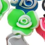 Beads polimer balta, Polymer Clay, Lule, asnjë, ngjyra të përziera, 15x11-16x10mm, : 1-2mm, 100PC/Qese,  Qese