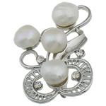 Pearl ujërave të ëmbla karficë, Pearl kulturuar ujërave të ëmbla, with Tunxh, Lule, e bardhë, 32x52x17mm,  PC