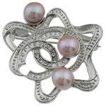 Pearl ujërave të ëmbla karficë, Pearl kulturuar ujërave të ëmbla, with Tunxh, Lule, rozë, 43x44x20mm,  PC