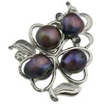 Pearl ujërave të ëmbla karficë, Pearl kulturuar ujërave të ëmbla, with Tunxh, Lule, e zezë, 37x43.50x17mm,  PC