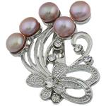 Pearl ujërave të ëmbla karficë, Pearl kulturuar ujërave të ëmbla, with Tunxh, Lule, vjollcë, 39.50x49x17.50mm,  PC