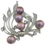 Pearl ujërave të ëmbla karficë, Pearl kulturuar ujërave të ëmbla, with Tunxh, Lule, vjollcë, 44.50x49x15mm,  PC