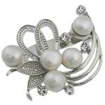 Pearl ujërave të ëmbla karficë, Pearl kulturuar ujërave të ëmbla, with Tunxh, Lule, e bardhë, 36x42x17mm,  PC