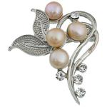 Pearl ujërave të ëmbla karficë, Pearl kulturuar ujërave të ëmbla, with Tunxh, Lule, rozë, 41x50x18.50mm,  PC