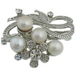 Pearl ujërave të ëmbla karficë, Pearl kulturuar ujërave të ëmbla, with Tunxh, Lule, e bardhë, 36.50x42x20mm,  PC