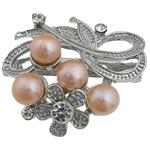 Pearl ujërave të ëmbla karficë, Pearl kulturuar ujërave të ëmbla, with Tunxh, Lule, rozë, 36.50x42x20mm,  PC