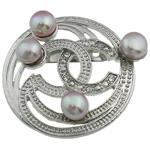 Pearl ujërave të ëmbla karficë, Pearl kulturuar ujërave të ëmbla, with Tunxh, Monedhë, vjollcë, 43x49x17mm,  PC