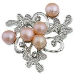 Pearl ujërave të ëmbla karficë, Pearl kulturuar ujërave të ëmbla, with Tunxh, Lule, rozë, 44.50x45.50x16mm,  PC