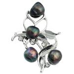 Pearl ujërave të ëmbla karficë, Pearl kulturuar ujërave të ëmbla, with Tunxh, Lule, e zezë, 37.50x54x16mm,  PC