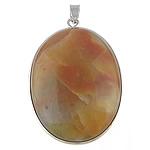 Pendants gur i çmuar bizhuteri, Rainbow Jasper, Oval, 32x42x8mm, : 4x5mm, 10PC/Qese,  Qese