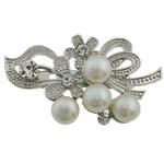 Pearl ujërave të ëmbla karficë, Pearl kulturuar ujërave të ëmbla, with Tunxh, Lule, e bardhë, 31x52x16mm,  PC