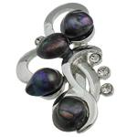 Pearl ujërave të ëmbla karficë, Pearl kulturuar ujërave të ëmbla, with Tunxh, Lule, e zezë, 31.50x53x15.50mm,  PC