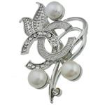 Pearl ujërave të ëmbla karficë, Pearl kulturuar ujërave të ëmbla, with Tunxh, Lule, e bardhë, 38.50x50x15.50mm,  PC