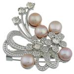 Pearl ujërave të ëmbla karficë, Pearl kulturuar ujërave të ëmbla, with Tunxh, Lule, rozë, 50x46x15.50mm,  PC