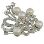 Pearl ujërave të ëmbla karficë, Pearl kulturuar ujërave të ëmbla, with Tunxh, Lule, e bardhë, 50x46x15.50mm,  PC