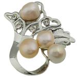 Pearl ujërave të ëmbla karficë, Pearl kulturuar ujërave të ëmbla, with Tunxh, Lule, rozë, 47.50x46x19mm,  PC